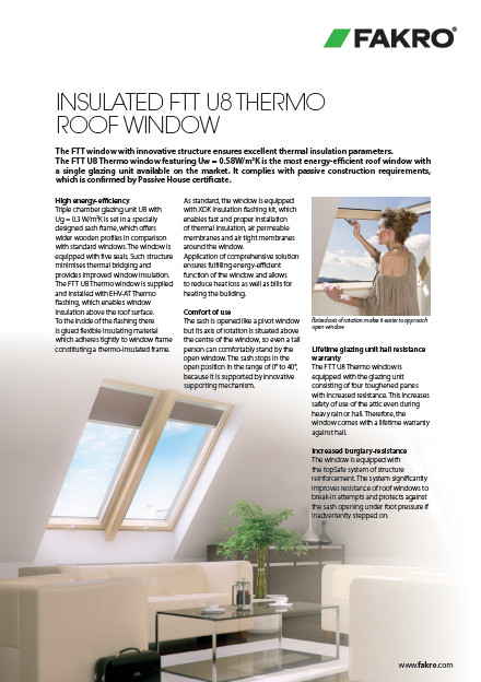 Insulated FTT U8 THERMO roof window